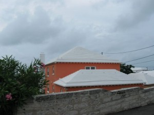 Terraced rooftops in Bermuda collect rainwater for use