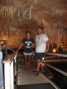 Jenny and Carl prepare for a dive in Crystal Cave