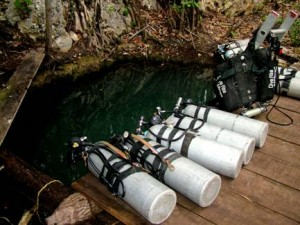 Sidemount cylinders are ready for exploration and survey at Cenote Muchachos.