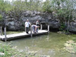 Water quality monitoring at Cenote Calavera.