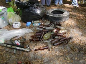 Glass bottles, tires, and other debris