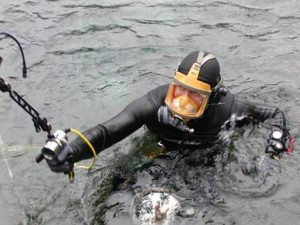Cambrian Foundation diver Terrence Tysall prepares to be the Human-ROV