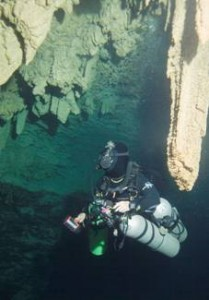 Renee Power surveys passage in the Green Bay System, currently a phreatic cave system in Bermuda.