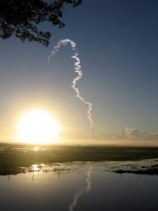 View of early morning space shuttle launch from the St. Johns River