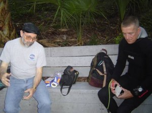 Dr. Mills discusses sampling strategies with research diver Terrence Tysall prior to a dive.