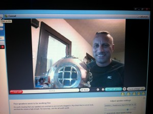 Our visit with Conrad (and his helmet!) via Skype!