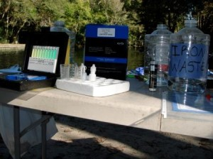 Water quality test kits waiting for the divers to return with samples.