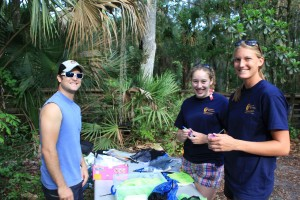 Steve, Rachel, and Jenny prepare the sampling equipment for Blue Spring