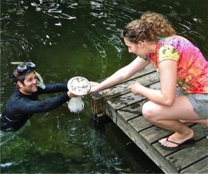 Bacterial specimens return to the surface via Snorkeling Steve!