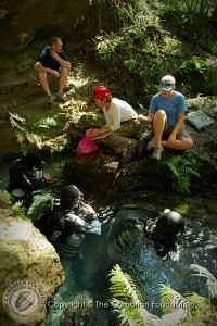 Divers prepare to enter Rock Springs